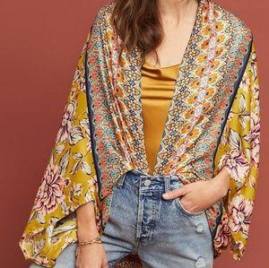 Anthropologie Kachel Floral Silk Cocoon Kimono